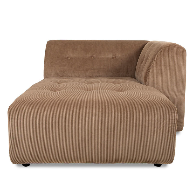 HKliving-collectie vint couch: element right divan, corduroy rib, brown