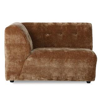 HKliving vint couch: elem. left 1,5-seat, corduroy velvet, aged gold