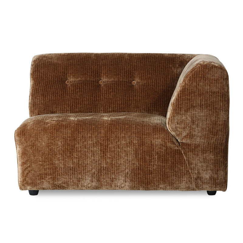HKliving-collectie vint couch: elem. right 1,5-seat, corduroy velvet, aged gold
