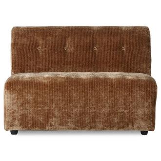 HKliving vint couch: elem. middle 1,5-seat, corduroy velvet,aged gold