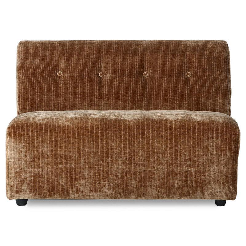 HKliving-collectie vint couch: elem. middle 1,5-seat, corduroy velvet,aged gold