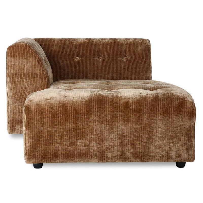 HKliving-collectie vint couch: element left divan, corduroy velvet, aged gold