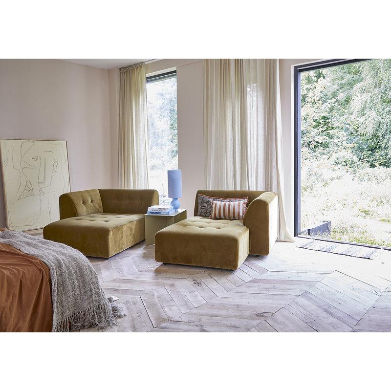 HKliving-collectie vint couch: element right divan, corduroy velvet, aged gold