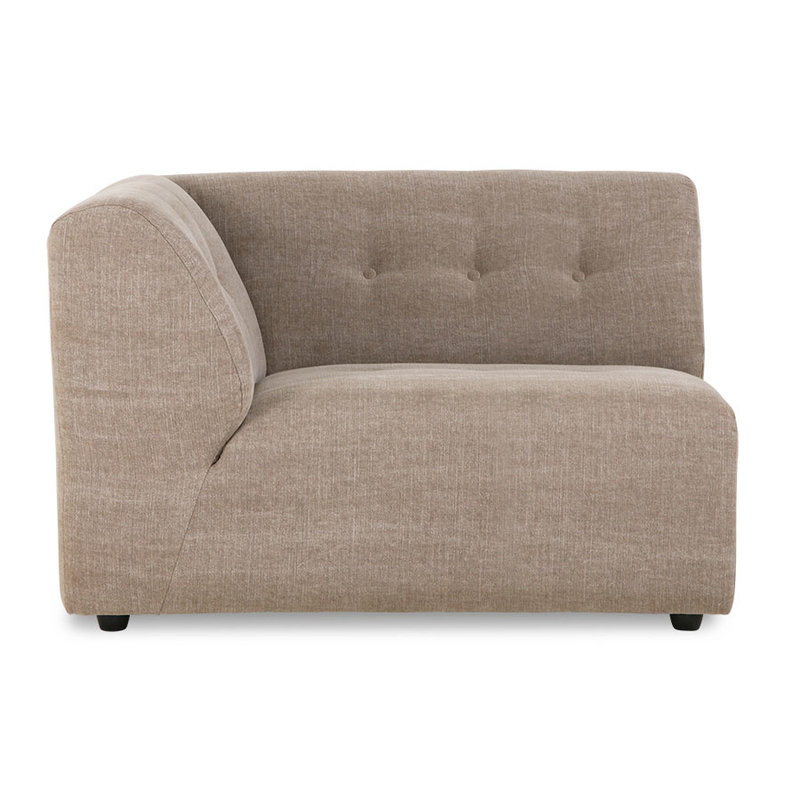 HKliving-collectie vint couch: element left 1,5-seat, linen blend, taupe