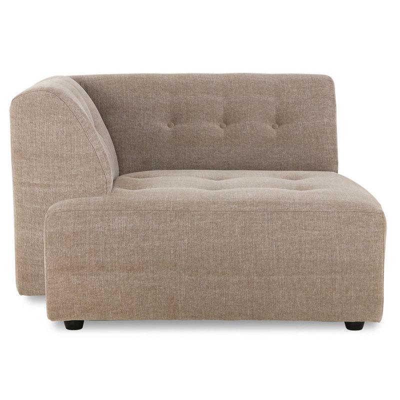 HKliving-collectie vint couch: element left divan, linen blend, taupe