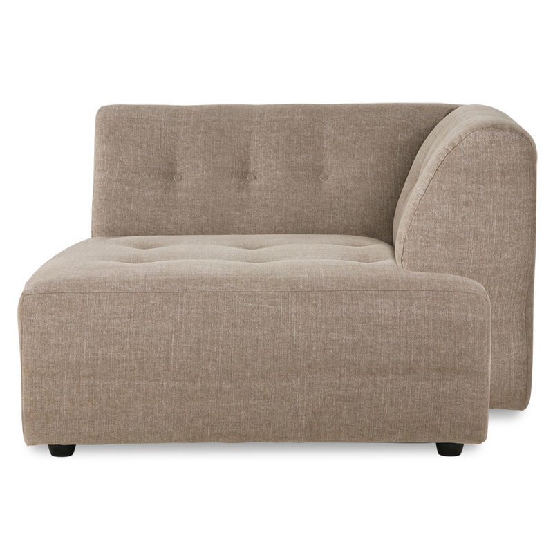 HKliving-collectie vint couch: element right divan, linen blend, taupe