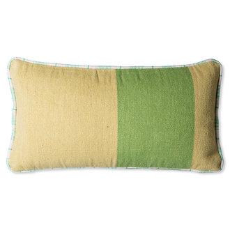 HKliving hand woven wool cushion green (38x74)