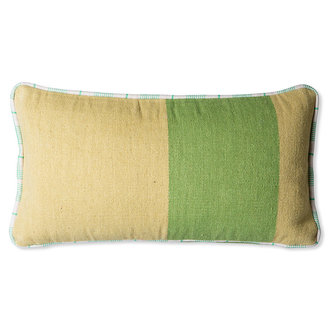 HKliving Sierkussen handgeweven groen (38x74)
