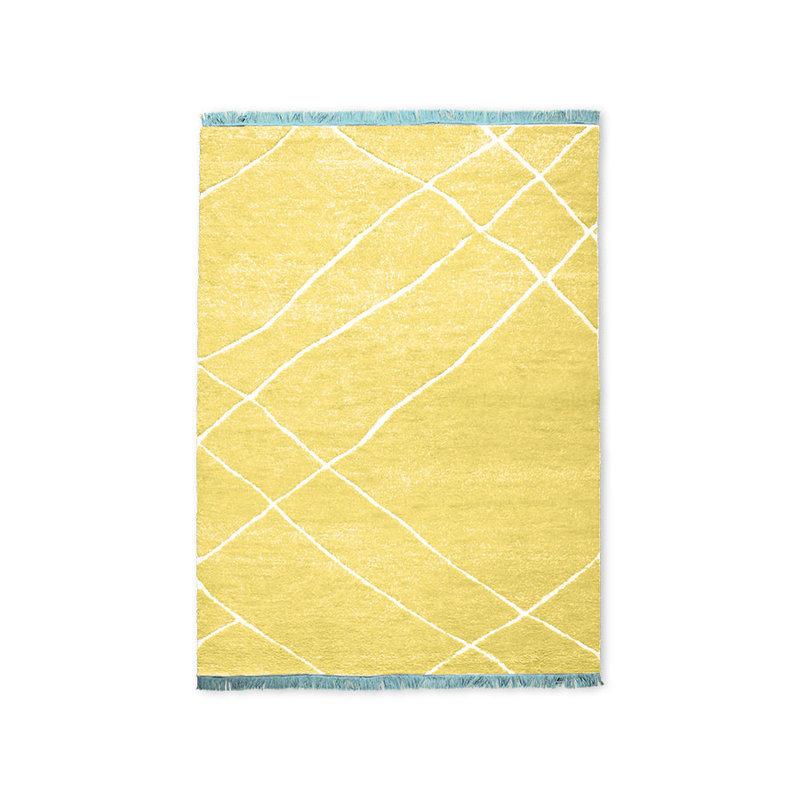 HKliving-collectie Handgeknoopt wollen vloerkleed geel (180x280)
