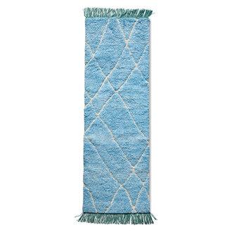HKliving Wollen loper handgeknoopt blauw/turquoise (80x250)
