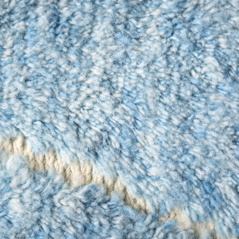 HKliving-collectie Wollen loper handgeknoopt blauw/turquoise (80x250)