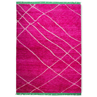 HKliving Handgeknoopt wollen vloerkleed roze (260x360)