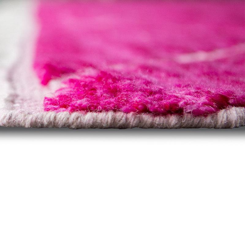 HKliving-collectie Handgeknoopt wollen vloerkleed roze (260x360)