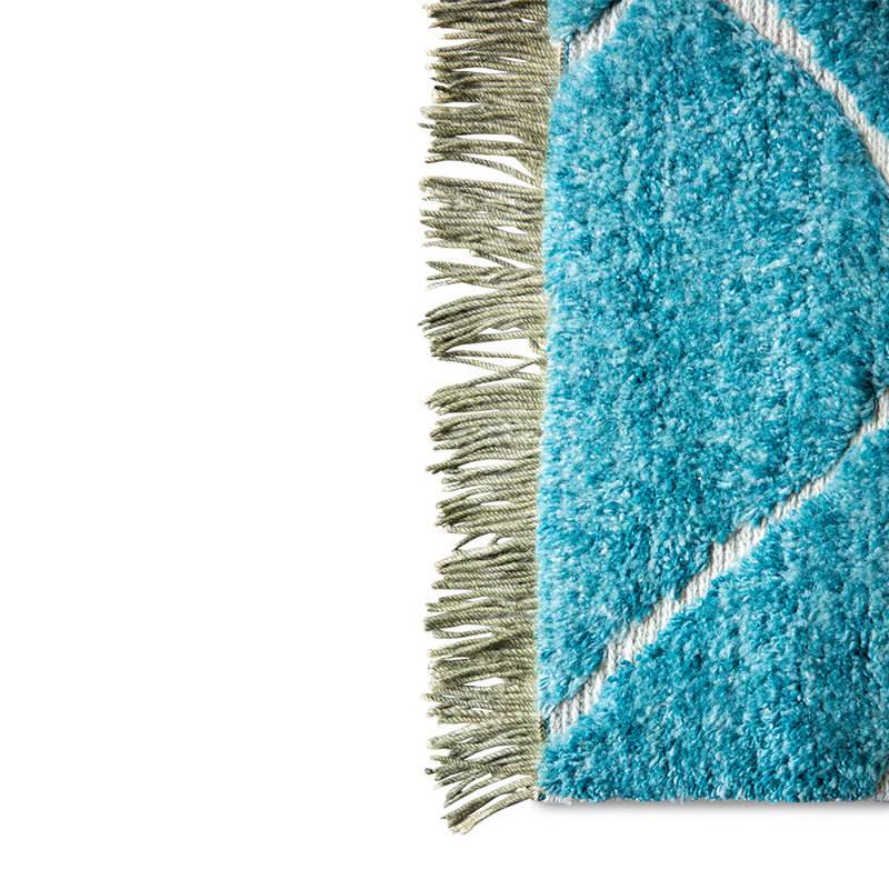 HKliving-collectie hand knotted woolen rug turquoise (260x360)