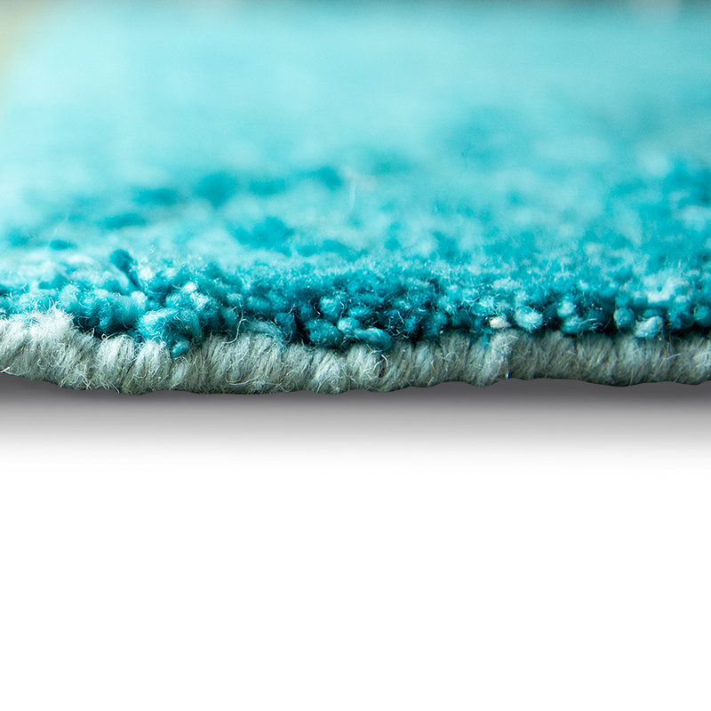 HKliving-collectie Handgeknoopt wollen vloerkleed turquoise (260x360)