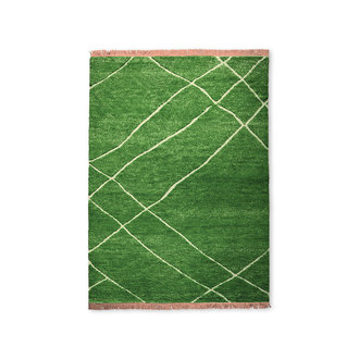 HKliving Handgeknoopt wollen vloerkleed groen (180x280)