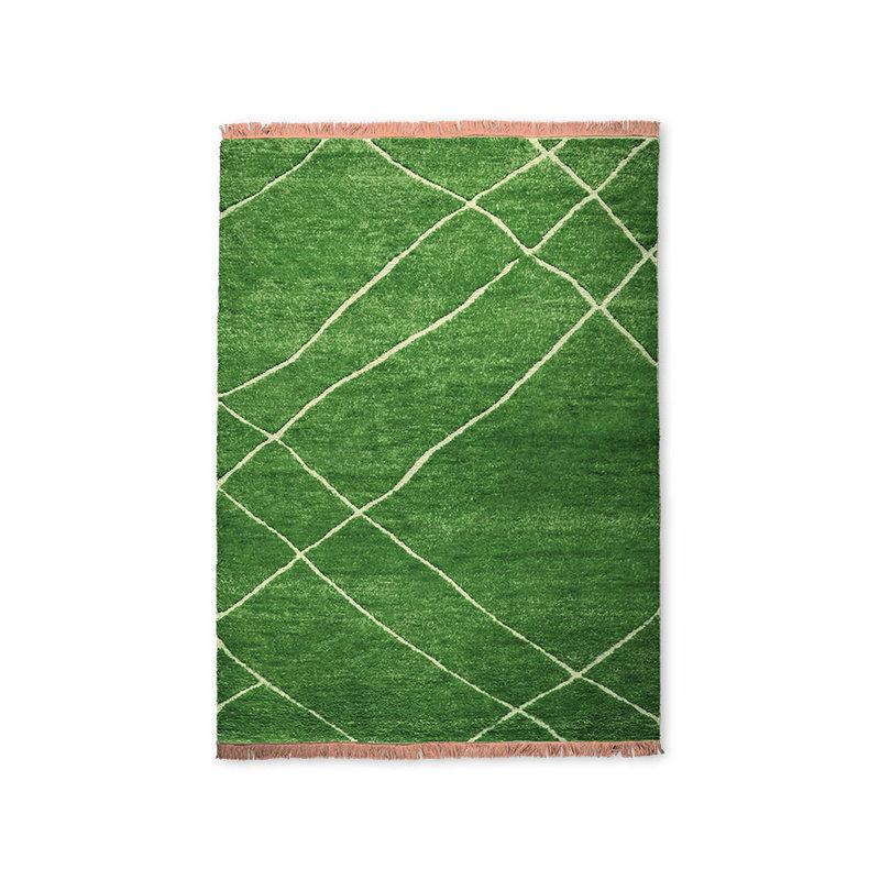 HKliving-collectie Handgeknoopt wollen vloerkleed groen (180x280)