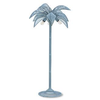 HKliving Vloerlamp wicker palm  grijsblauw
