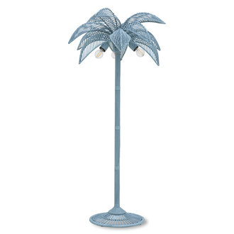 HKliving wicker palm floor lamp grey/blue