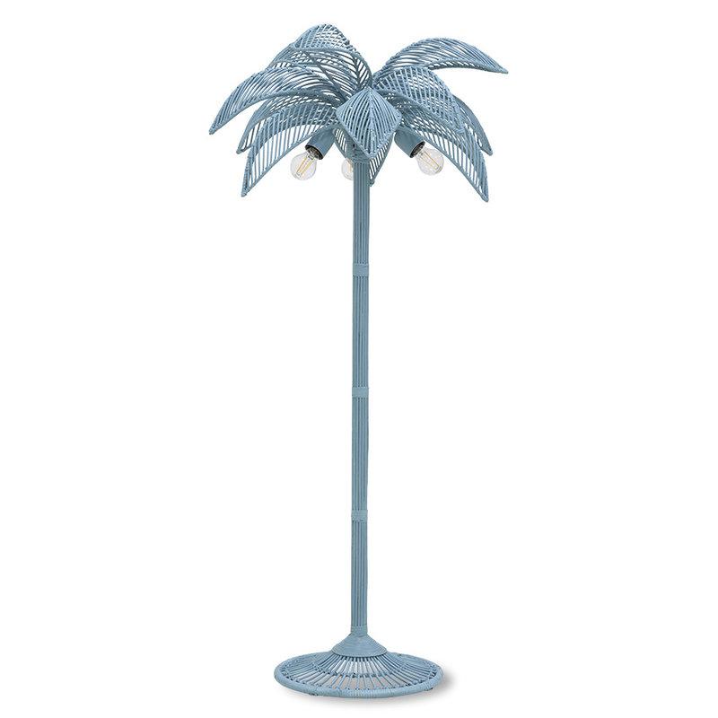 HKliving-collectie Vloerlamp wicker palm  grijsblauw