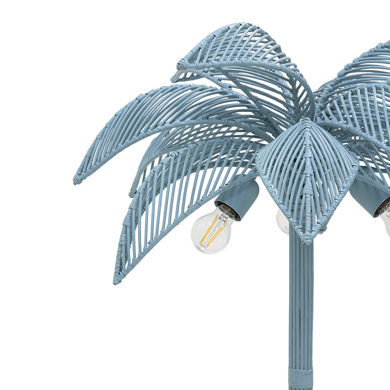 HKliving-collectie wicker palm floor lamp grey/blue