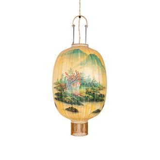 HKliving Traditionele lantaarn landscape schilderij ovaal L