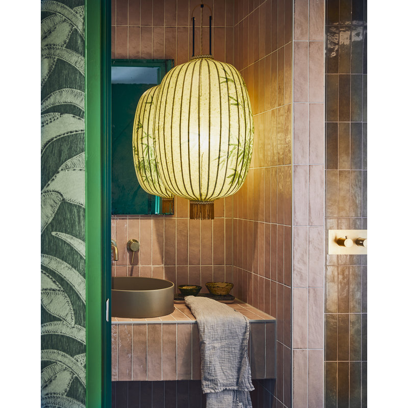 HKliving-collectie traditional lantern bamboo painting oval XL