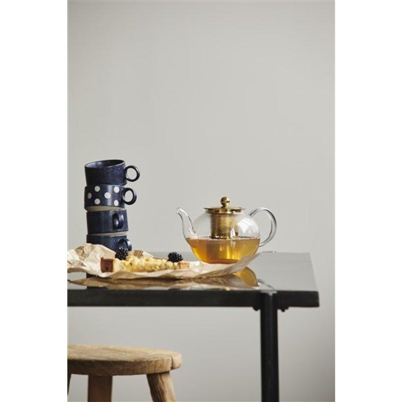 Nordal-collectie Glazen theepot CHILI goud