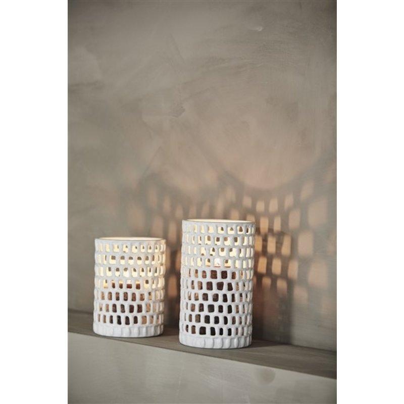 Nordal-collectie Keramieken pot WAKE wit L