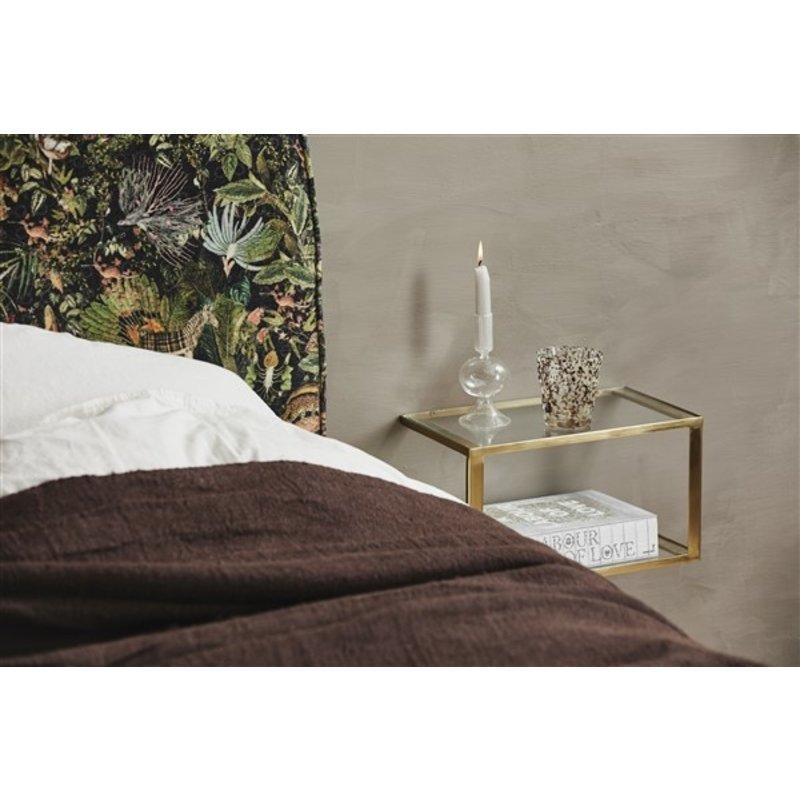 Nordal-collectie Wandkastje NERA met glazen plankjes goud