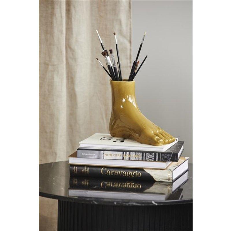 Nordal-collectie ARUBA foot, vase, olive