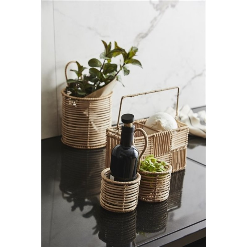 Nordal-collectie ZADAR rattan holder w. handle, M, nature