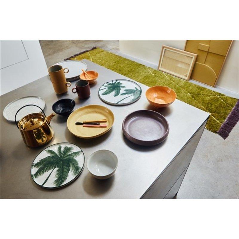 HKliving-collectie Wollen loper handgeknoopt olijf/paars (80x300)