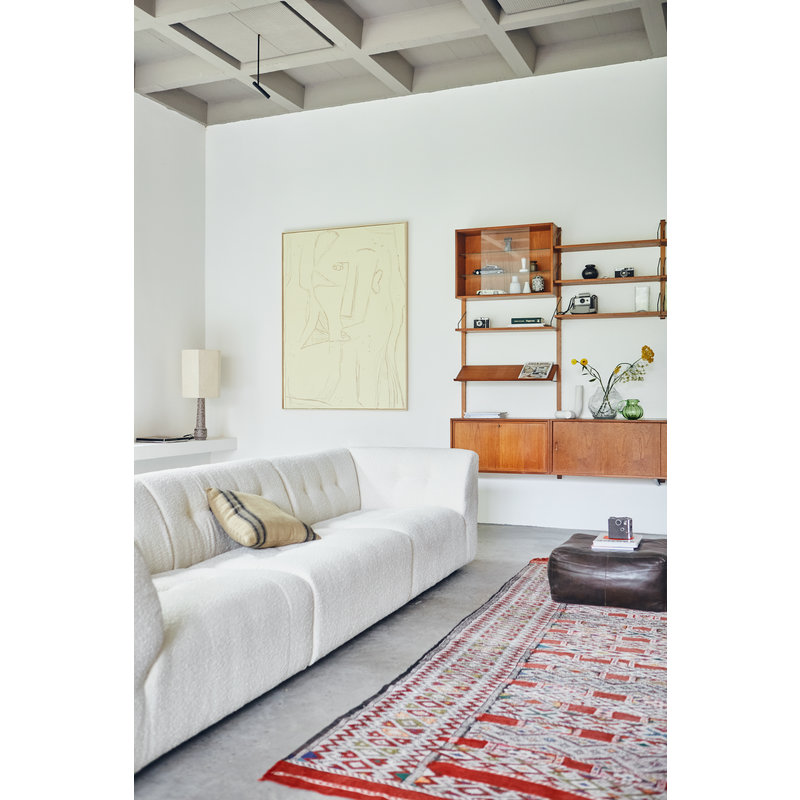 HKliving-collectie vint couch: element middle 1,5-seat, boucle, cream
