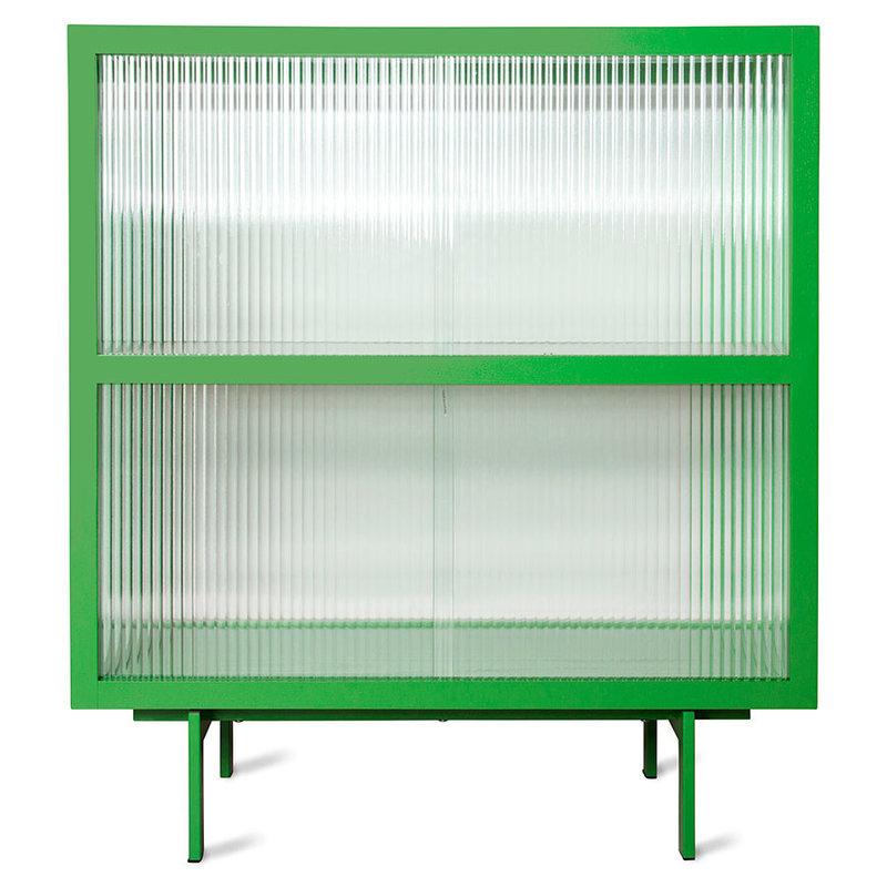 HKliving-collectie Vitrinekast met geribbeld glas  fern groen
