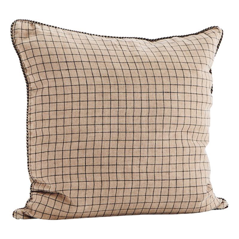 Madam Stoltz-collectie Checked linen cushion cover