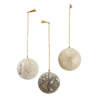 Madam Stoltz Papier-maché kerstballen naturel/zwart/wit/goud - set van 3