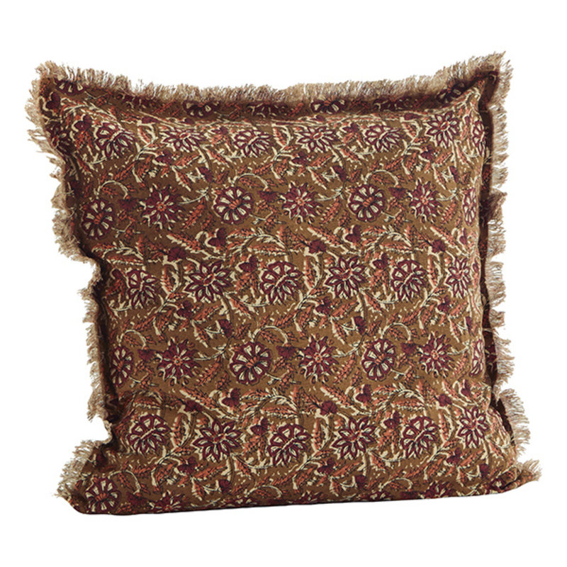 Madam Stoltz-collectie Printed cushion cover w/ fringes