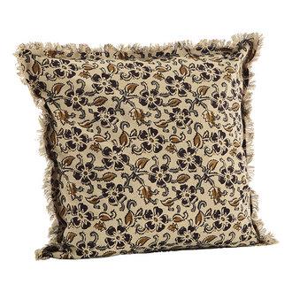 Madam Stoltz Printed cushion cover w/ fringes