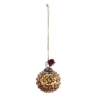 Madam Stoltz Glazen kerstbal met dots antiek koper - 7 cm