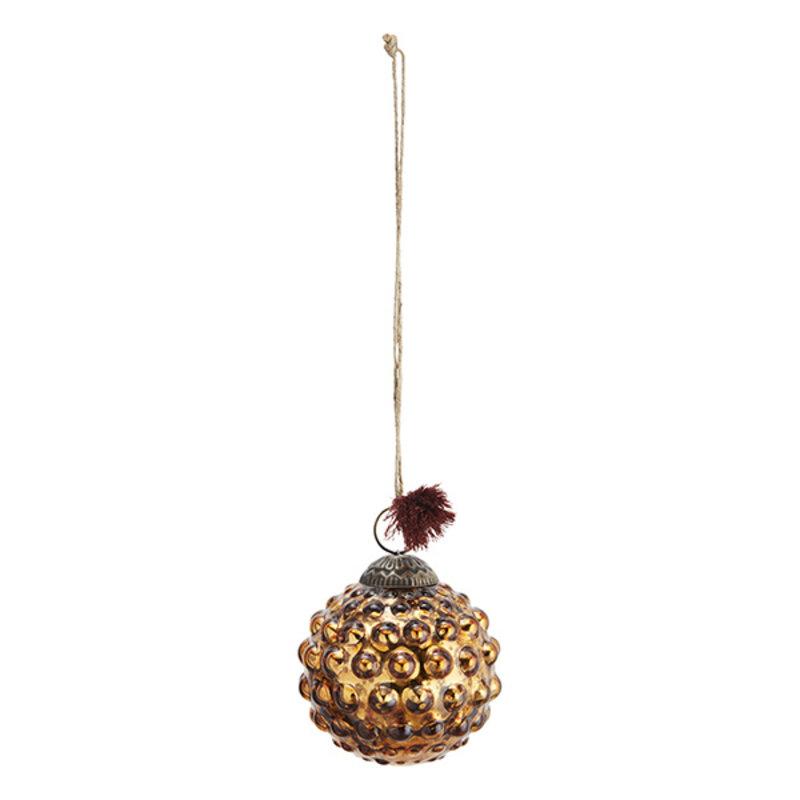Madam Stoltz-collectie Glazen kerstbal met dots antiek koper - 7 cm