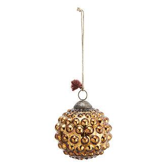 Madam Stoltz Glazen kerstbal met dots antiek koper - 10 cm