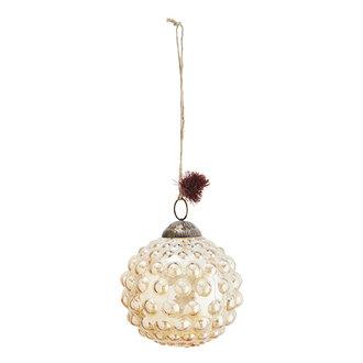 Madam Stoltz Glazen kerstbal met dots oranje - 10 cm