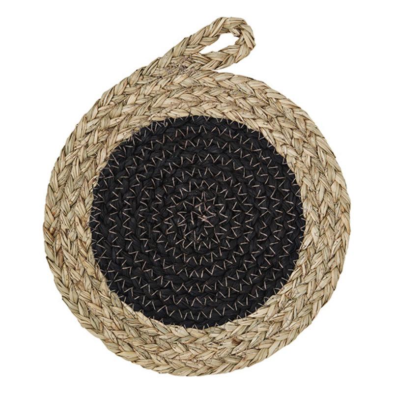 Madam Stoltz-collectie Zeegras onderzetter zwart/naturel