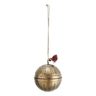 Madam Stoltz Aluminium kerstbal antiek brass - 8 cm