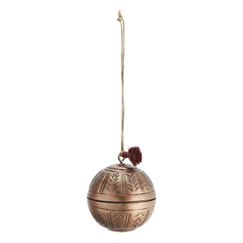 Madam Stoltz-collectie Aluminium kerstbal antiek koper - 8 cm