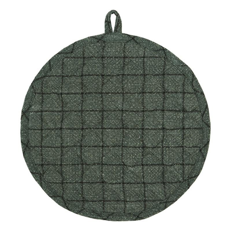 Madam Stoltz-collectie Ronde gewatteerde pannenlap ivy groen/zwart