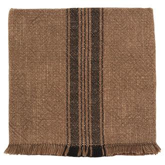 Madam Stoltz Striped kitchen towel w/ fringes