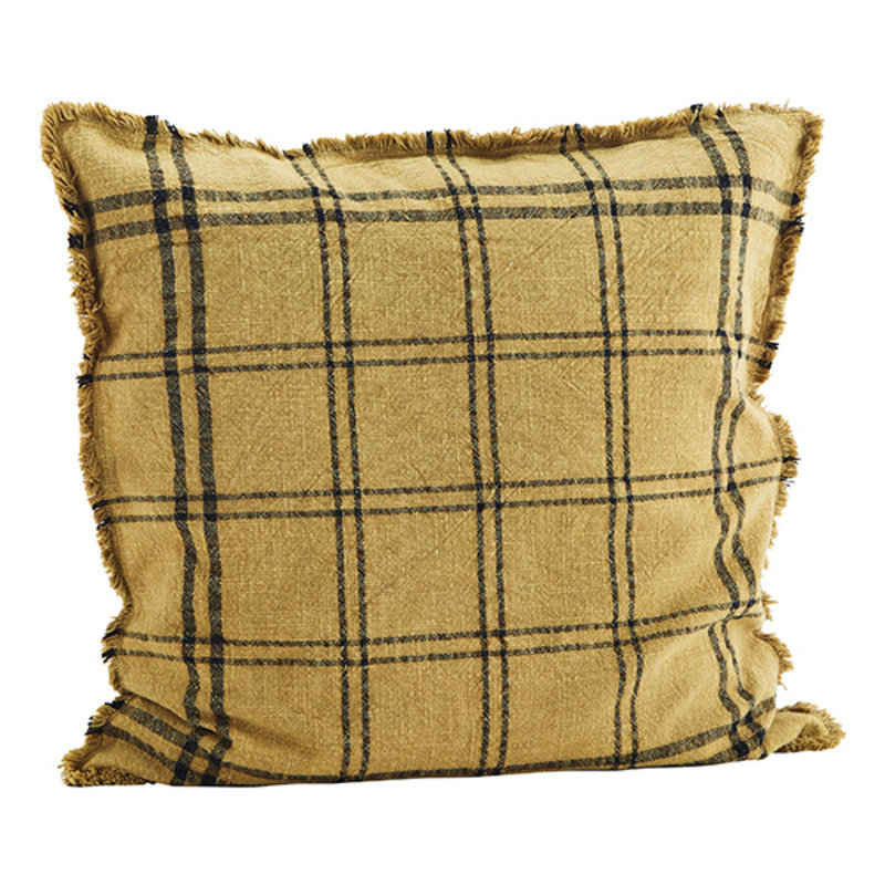 Madam Stoltz-collectie Checked cushion cover w/ fringes