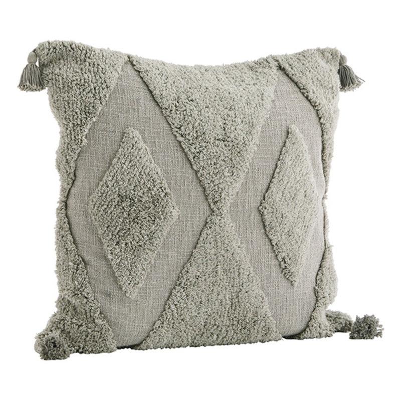 Madam Stoltz-collectie Tufted kussenhoes 60x60 cm lichtgrijs